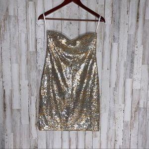 Arden B Gold Sequins Party Dress